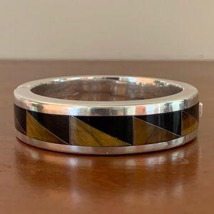 Vintage Mexico Sterling 925 Hinged Inlay Bracelet